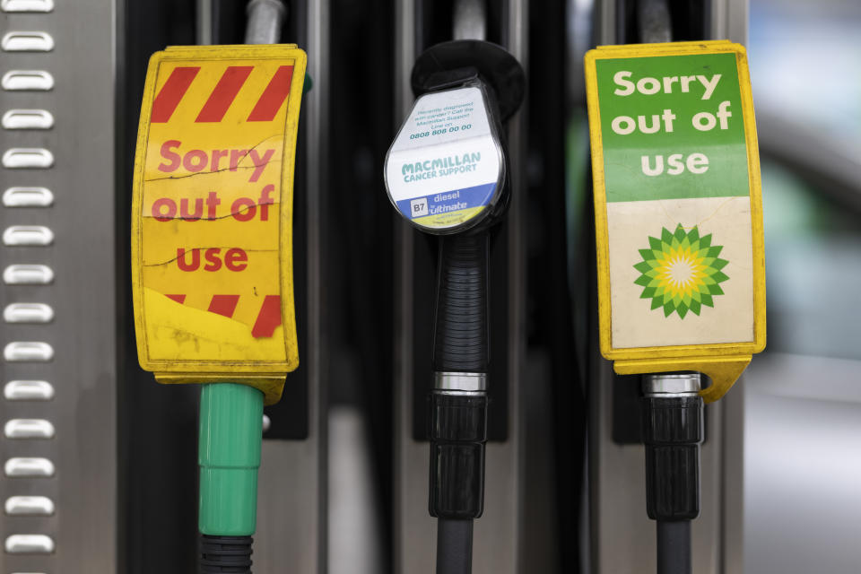 LONDON, ENGLAND - SEPTEMBER 23: Pumps, out of action, at a BP (British Petroleum) petrol station on September 23, 2021 in London, United Kingdom. BP has announced that its ability to transport fuel from refineries to its branded petrol station forecourts is being impacted by the ongoing shortage of HGV drivers and as a result, it will be rationing deliveries to ensure continuity of supply. (Photo by Dan Kitwood/Getty Images)