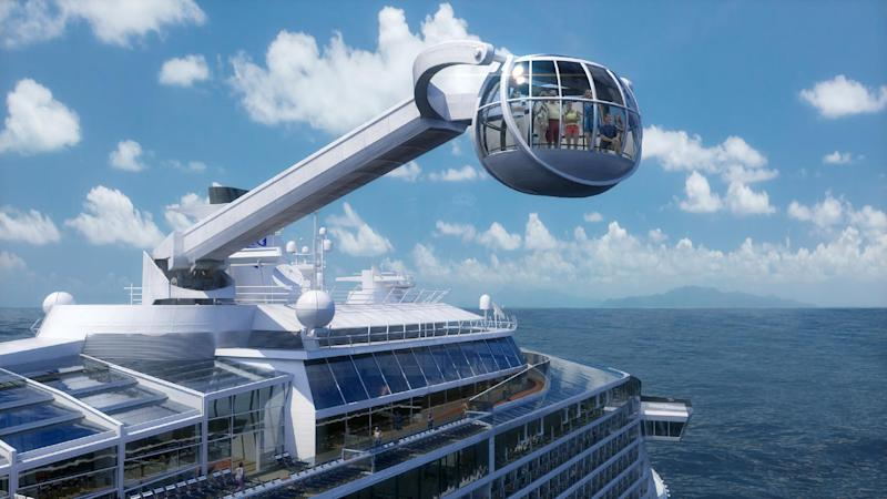 This computer-generated image provided by the Royal Caribbean International cruise line shows its forthcoming ship, Quantum of the Seas. The ship will offer a number of innovative features that are the first-ever for the cruise industry, including The North Star, an observation capsule on a movable arm that will offer a bird's eye view from 300 feet above the water. The 2013 cruise season began with a nightmare: A Carnival ship adrift with no power. But in the last month or so, several cruise companies _ including Carnival _ have announced major overhauls to old ships and exciting innovations on new ships, from engineering upgrades to theme park-style rides. (AP Photo/Royal Caribbean International)