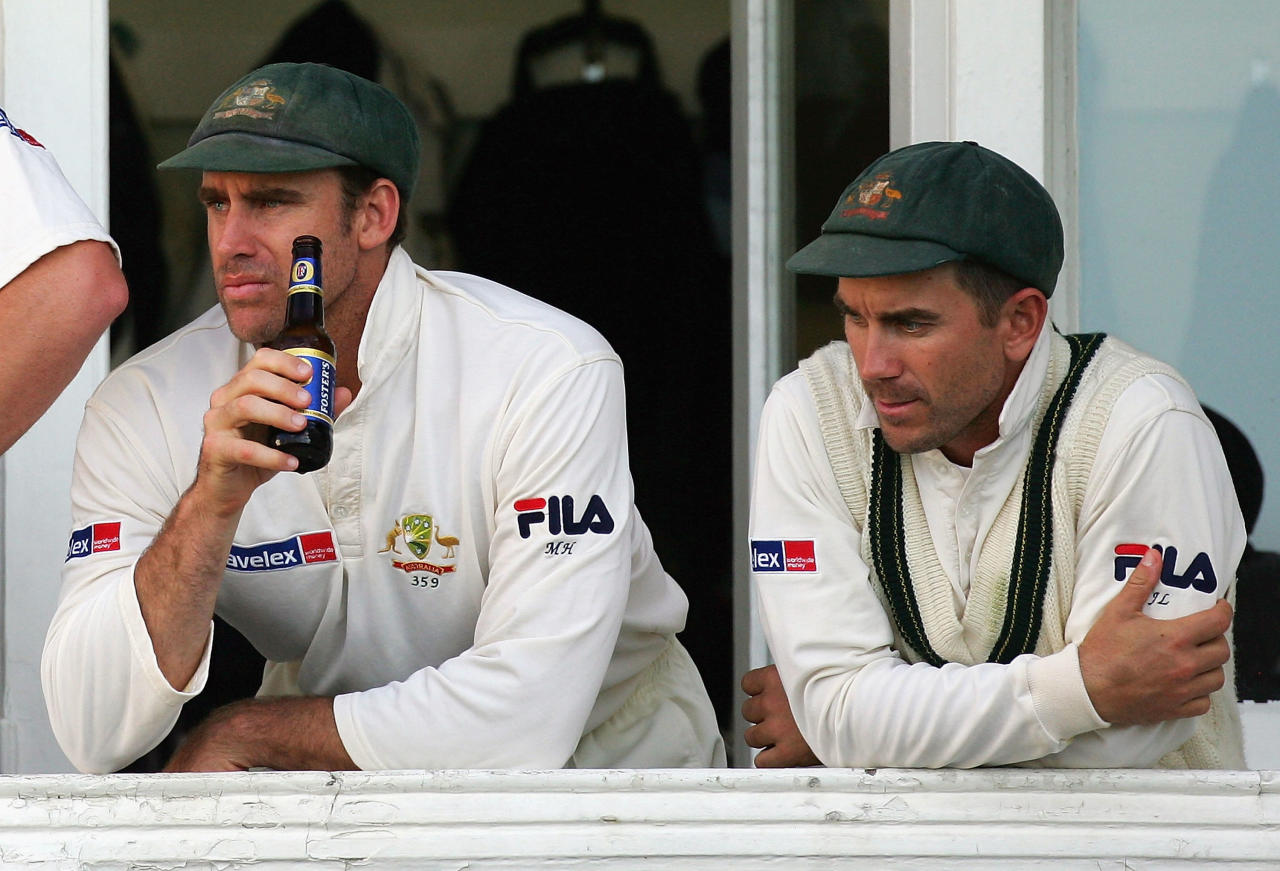 NOTTINGHAM, UNITED KINGDOM - AUGUST 28:  Matthew Hayden (left) and Justin Langer of Australia look on from the players balcony after day four of the Fourth npower Ashes Test between England and Australia played at Trent Bridge on August 28, 2005 in Nottingham, United Kingdom  (Photo by Hamish Blair/Getty Images)