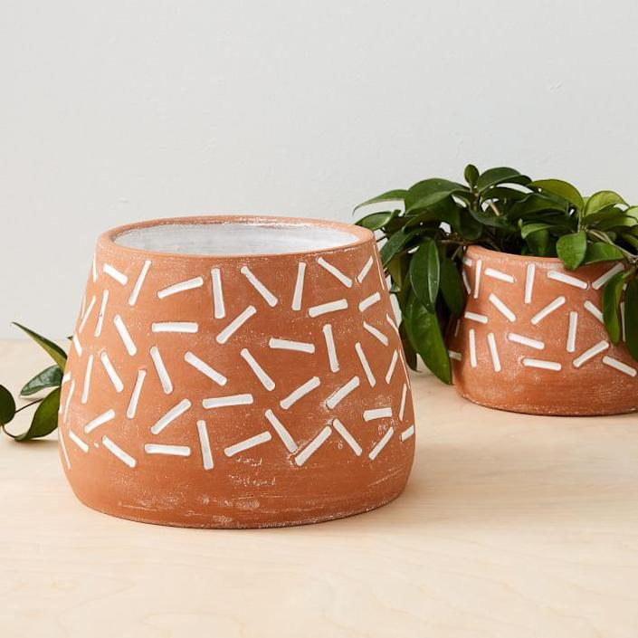 """Why not add a little confetti fun to your every day? $40, West Elm. <a href=""""https://www.westelm.com/products/confetti-terracotta-planters-d7942/"""" rel=""""nofollow noopener"""" target=""""_blank"""" data-ylk=""""slk:Get it now!"""" class=""""link rapid-noclick-resp"""">Get it now!</a>"""