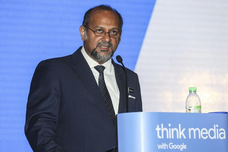 Communications and Multimedia Minister Gobind Singh Deo delivers his opening remarks during the'Think Media Malaysia 2018' forum at Aloft KL Sentral in Kuala Lumpur August 20, 2018. — Picture by Hari Anggara