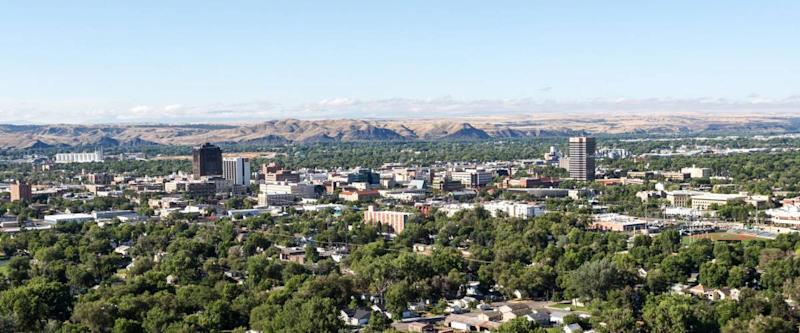 The skyline of Billings, Montana.