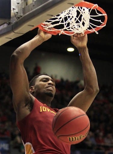 Iowa State forward Melvin Ejim dunks against Iowa State half of a second-round game at the NCAA college basketball tournament on Friday, March 22, 2013, in Dayton, Ohio. (AP Photo/Skip Peterson)