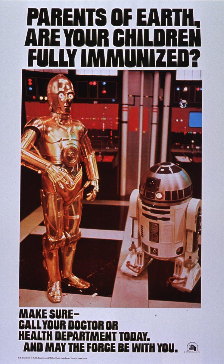 Star Wars-themed poster urging parents to vaccinate their children.