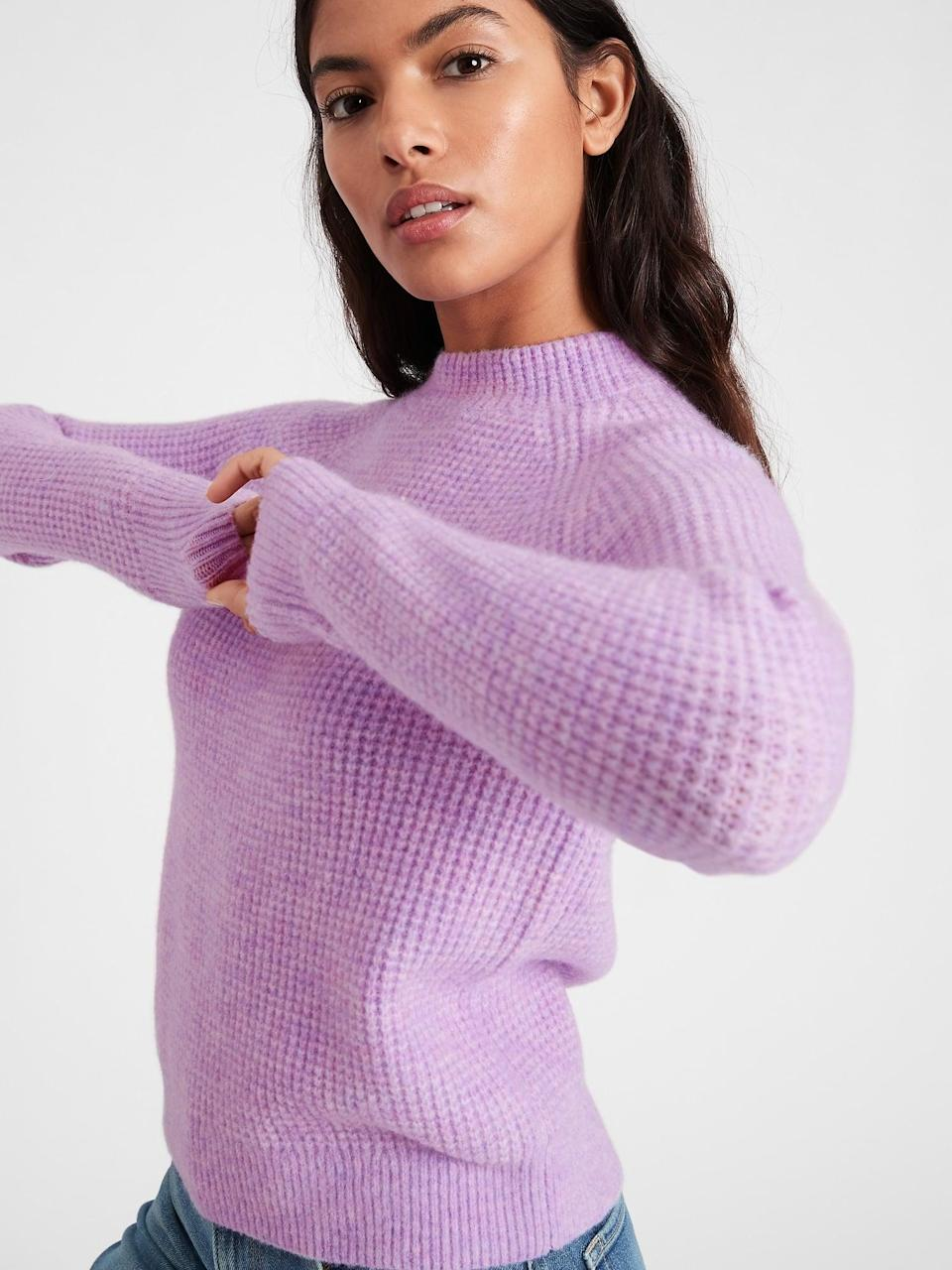 <p>Already feeling springy? Opt for this lavender <span>Banana Republic Aire Waffle-Knit Sweater</span> ($78, originally $99).</p>