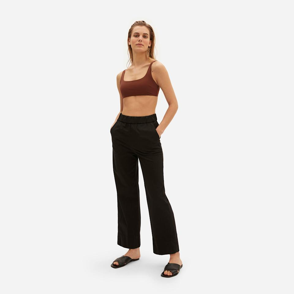 """I'm really not thinking about buying clothes at the moment but looking ahead to the next season, I definitely have a gap for a good straight trouser and these (elasticated! waist!) fit the bill perfectly. <br><br><strong>Everlane</strong> The Easy Straight Leg Chino, $, available at <a href=""""https://www.everlane.com/products/womens-easy-straight-leg-chino-black"""" rel=""""nofollow noopener"""" target=""""_blank"""" data-ylk=""""slk:Everlane"""" class=""""link rapid-noclick-resp"""">Everlane</a>"""