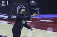 South Carolina head coach Dawn Staley yells directions during the first half of an NCAA college basketball game against Mississippi in Columbia, S.C., Thursday, Feb. 25, 2021. (Tracy Glantz/The State via AP)