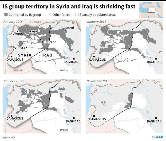 Maps of Syria and Iraq showing loss of territory by Islamic State (IS)group since January 2015