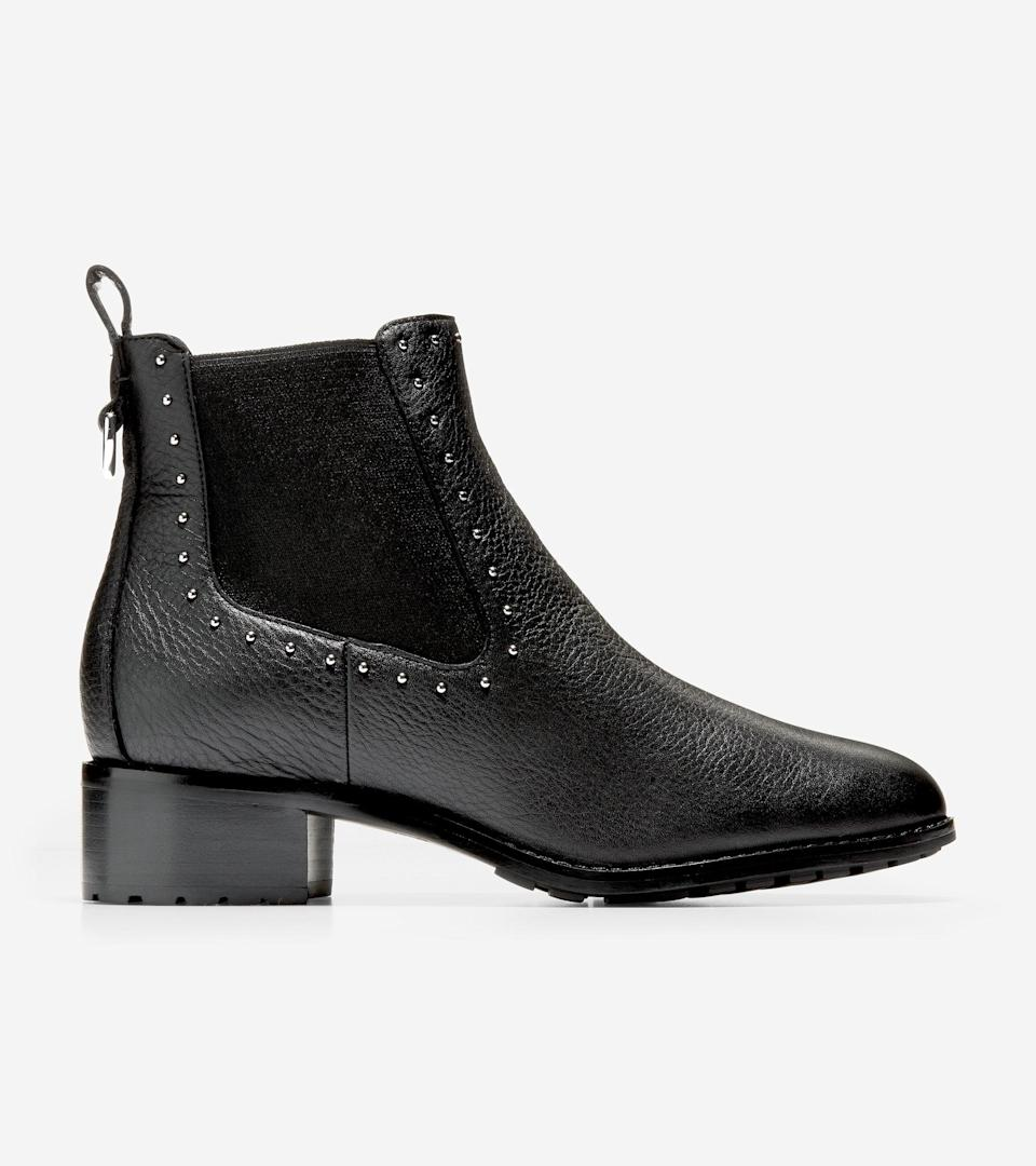 """<br><br><strong>Cole Haan</strong> Newburg Bootie, $, available at <a href=""""https://go.skimresources.com/?id=30283X879131&url=https%3A%2F%2Ffave.co%2F3mg44L1"""" rel=""""nofollow noopener"""" target=""""_blank"""" data-ylk=""""slk:Cole Haan"""" class=""""link rapid-noclick-resp"""">Cole Haan</a>"""