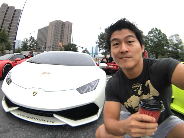 Peter Saddington of Atlanta, 35, in front of the Lamborghini Huracán he bought in October for 45 Bitcoin, or $238,000.