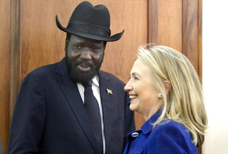 Secretary of State Hillary Rodham Clinton meets with South Sudan President Salva Kiir,, Friday, Aug. 3, 2012, at the Presidential Office Building in Juba, South Sudan. (AP Photo/Jacquelyn Martin, Pool)
