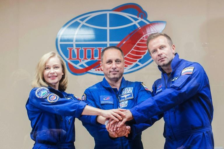 Director Klim Shipenko (R) said the space movie would be 'an experiment' (AFP/Andrey SHELEPIN)
