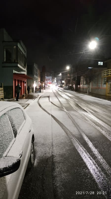 General view of a street covered in snow in Vacaria