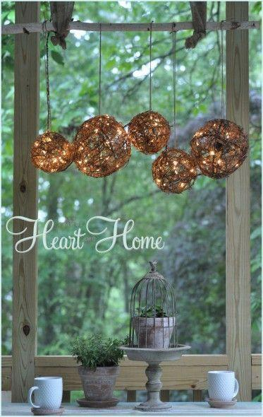 """<p>Grapevine balls, white lights, twine, and a branch turn into an easy-to-make, rustic chandelier you can hang from a porch or patio.</p><p><strong>Get the tutorial at <a href=""""http://www.allthingsheartandhome.com/2013/05/easy-diy-outdoor-chandelier/"""" rel=""""nofollow noopener"""" target=""""_blank"""" data-ylk=""""slk:All Things Heart and Home"""" class=""""link rapid-noclick-resp"""">All Things Heart and Home</a>.</strong></p><p><strong><a class=""""link rapid-noclick-resp"""" href=""""https://www.amazon.com/MYHH-LITES-Outdoor-Connectable-Weather-Resistant-Backyard/dp/B07MZ6K7Q9/ref=sr_1_8?tag=syn-yahoo-20&ascsubtag=%5Bartid%7C10050.g.3404%5Bsrc%7Cyahoo-us"""" rel=""""nofollow noopener"""" target=""""_blank"""" data-ylk=""""slk:Shop string light globes"""">Shop string light globes</a><br></strong></p>"""