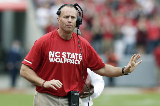 Dave Doeren is in his fifth season at NC State. (AP Photo/Gerry Broome)