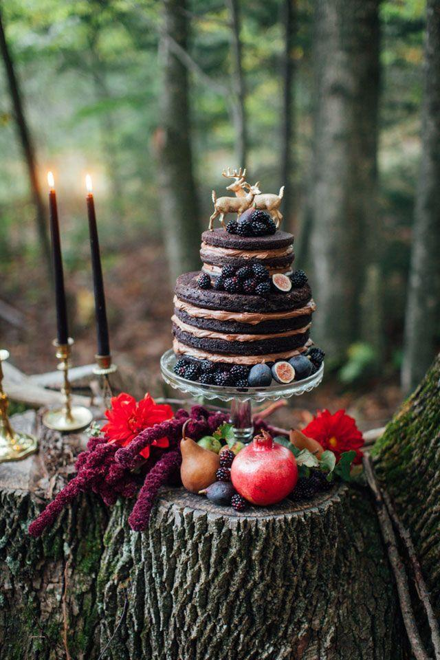 """<p>Decked out in seasonal fruits like figs, berries, and pears, this naked chocolate cake by <a href=""""https://www.instagram.com/lovebashdesign/"""" rel=""""nofollow noopener"""" target=""""_blank"""" data-ylk=""""slk:Love Bash Design"""" class=""""link rapid-noclick-resp"""">Love Bash Design</a> epitomizes fall with its deeper shades. We also love the unique topper.</p>"""