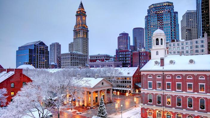 Faneuil Hall rooftops covered in snow during the winter season in Boston.