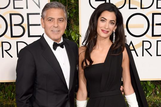 George and Amal Clooney at the Golden Globes in January (Getty Images)