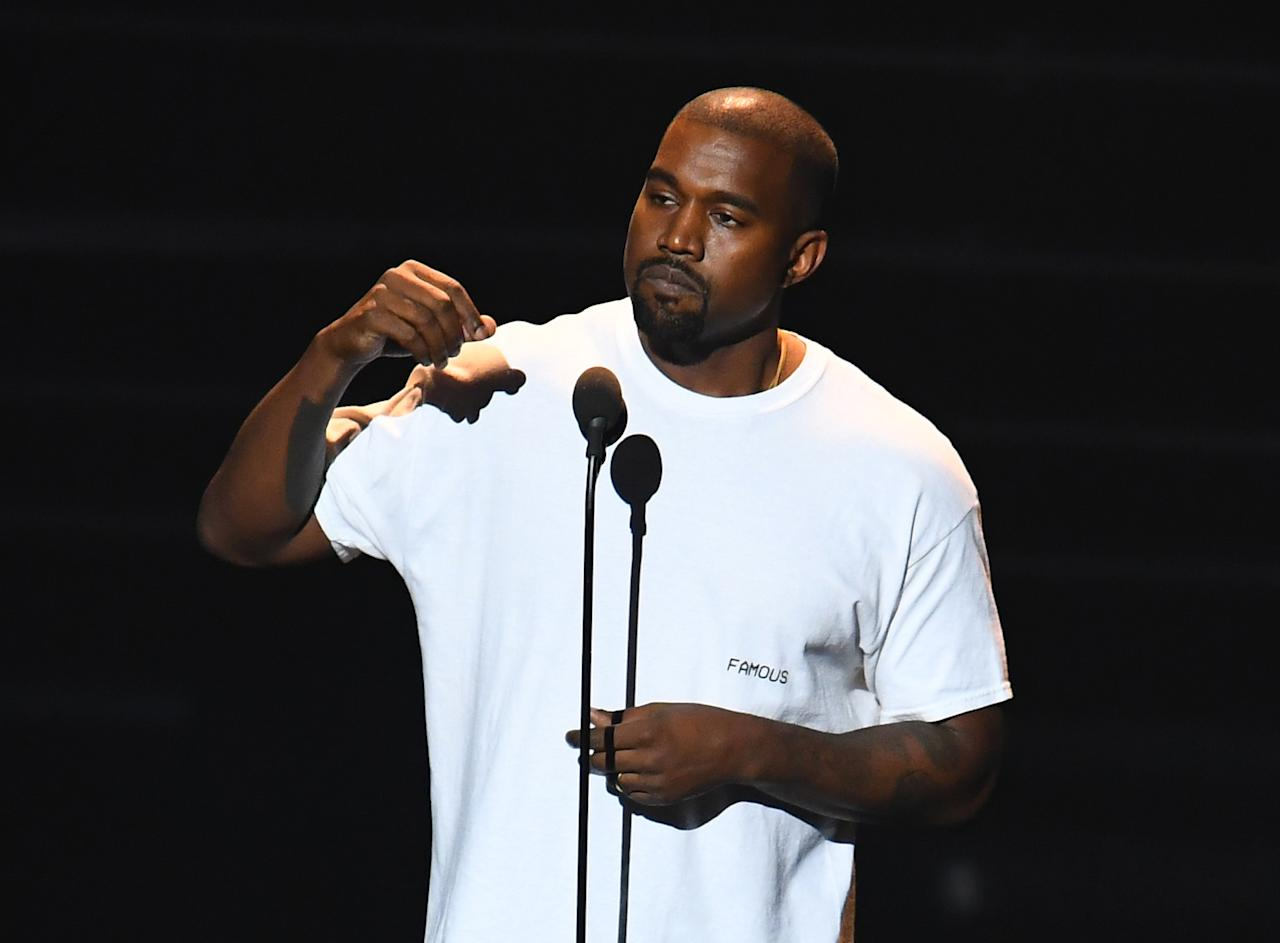 Kanye West at the 2016 MTV Video Music Awards, August 2016.