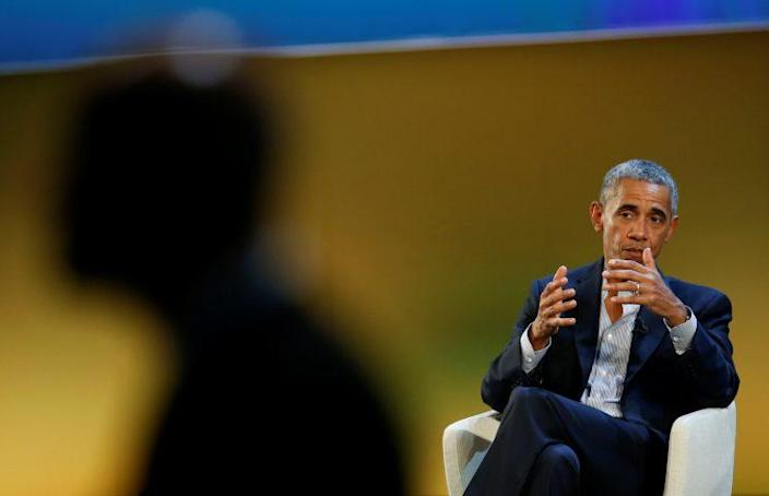 Barack Obama speaks during the Global Food Innovation Summit in Milan on Wednesday. (Photo: Alessandro Garofalo/Reuters)