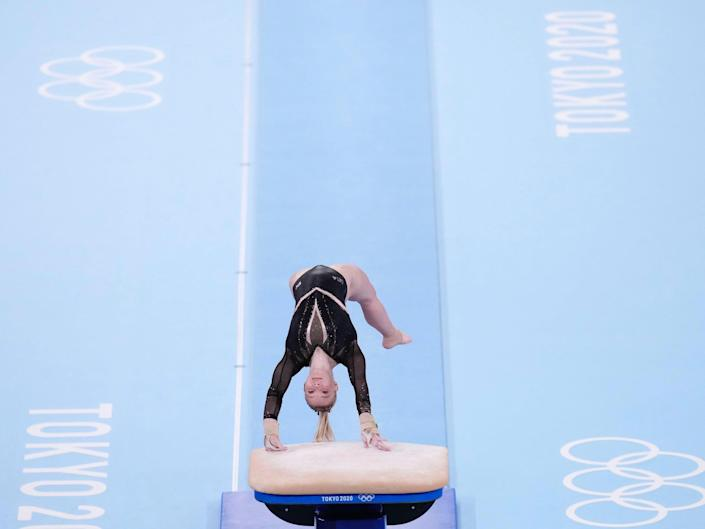 Jade Carey competes in the vault final at the Tokyo Olympics.