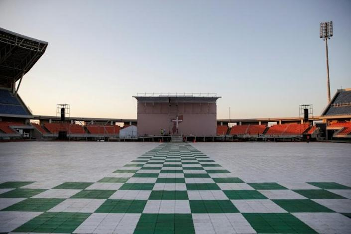 The Zimpeto Stadium on the outskirts of Maputo has been spruced up for a giant mass (AFP Photo/GIANLUIGI GUERCIA)