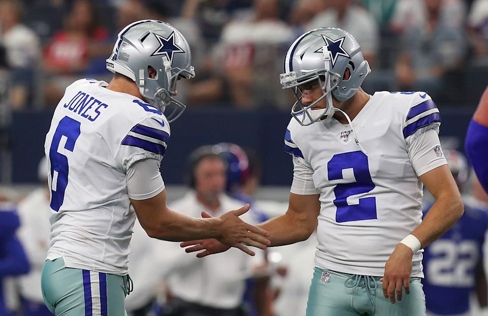 Dallas Cowboys kicker Brett Maher (2) hit a 63-yard field goal against the Eagles. (Getty Images)