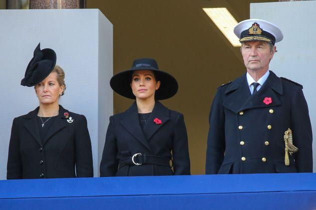 LONDON, UNITED KINGDOM - NOVEMBER 10: Sophie, Countess of Wessex, Meghan, Duchess of Sussex and Tim Laurence attend the Remembrance Sunday ceremony at the Cenotaph memorial in Whitehall, central London, United Kingdom on November 10, 2019. Remembrance Sunday is held each year to commemorate the service men and women who fought in past military conflicts. (Photo by Dinendra Haria/Anadolu Agency via Getty Images)