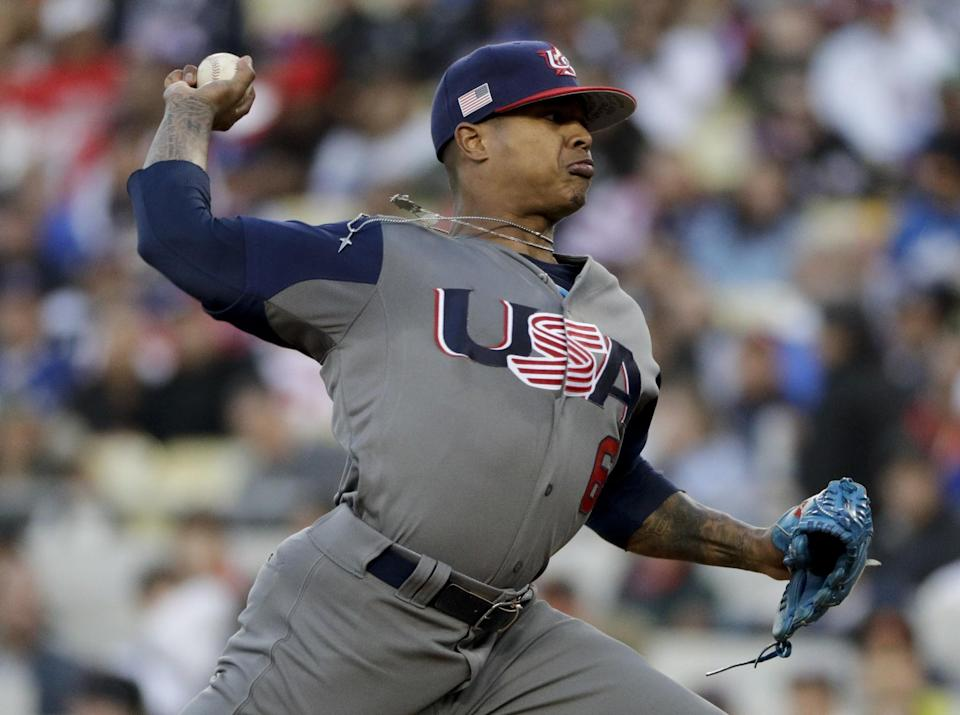 Marcus Stroman no-hit Puerto Rico through the first six innings. (AP)