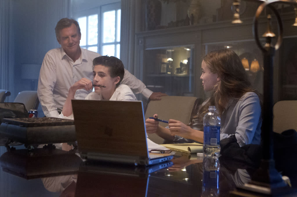 "Jamey Sheridan as the Vice President of the United States William Walden, Timothee Chalamet as Finn Walden and Morgan Saylor as Dana Brody in the ""Homeland"" Season 2 episode, ""New Car Smell."""