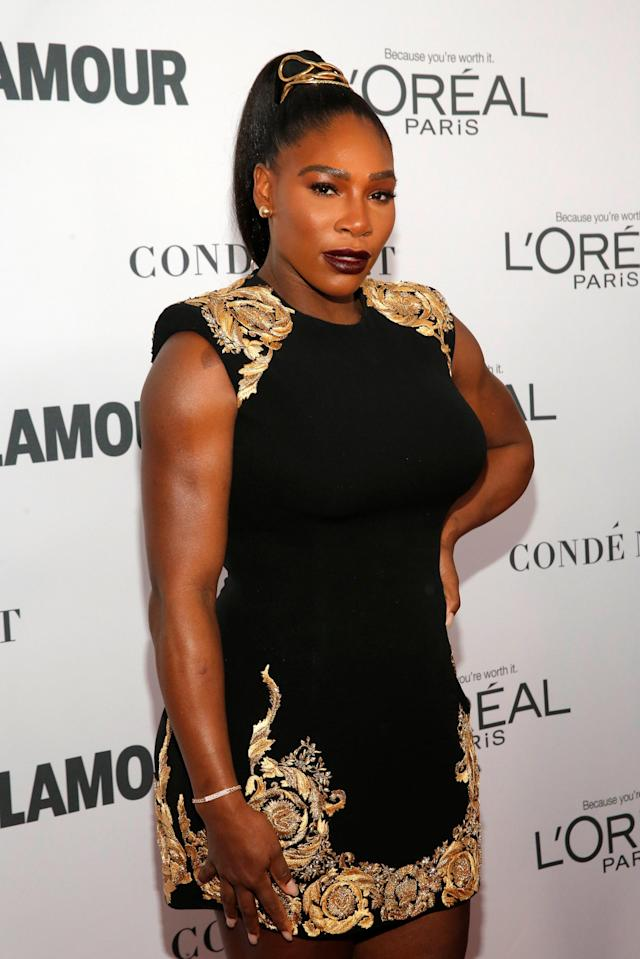 Tennis player Serena Williams attends the 2017 Glamour Women of the Year Awards at the Kings Theater in Brooklyn, New York, U.S., November 13, 2017. REUTERS/Andrew Kelly