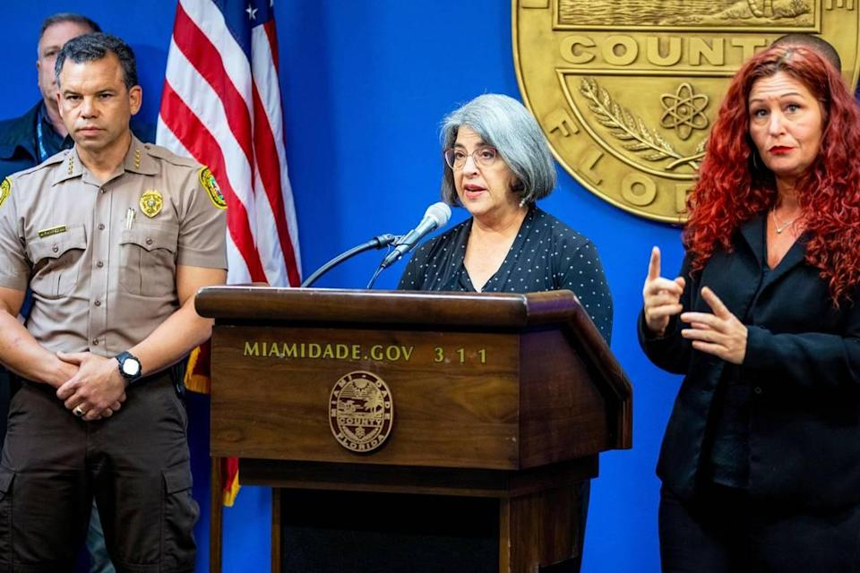 Miami-Dade County Mayor Daniella Levine Cava, along with other county officials, provided an update on the search and recovery operation following the Surfside building collapse during a press conference at Miami-Dade Emergency Operations in Doral, Florida, on Monday, July 26, 2021.