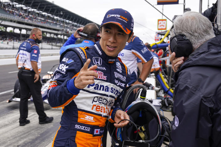 FILE - In this Friday, May 28, 2021 file photo, Takuma Sato, of Japan, prepares to drive during the final practice for the Indianapolis 500 auto race at Indianapolis Motor Speedway in Indianapolis. The future of two-time Indianapolis 500 winner Takuma Sato in the IndyCar Series was put in doubt Tuesday, Oct. 5, 2021 when Rahal Letterman Lanigan said the Japanese racer would not return to the team.(AP Photo/Michael Conroy, File)