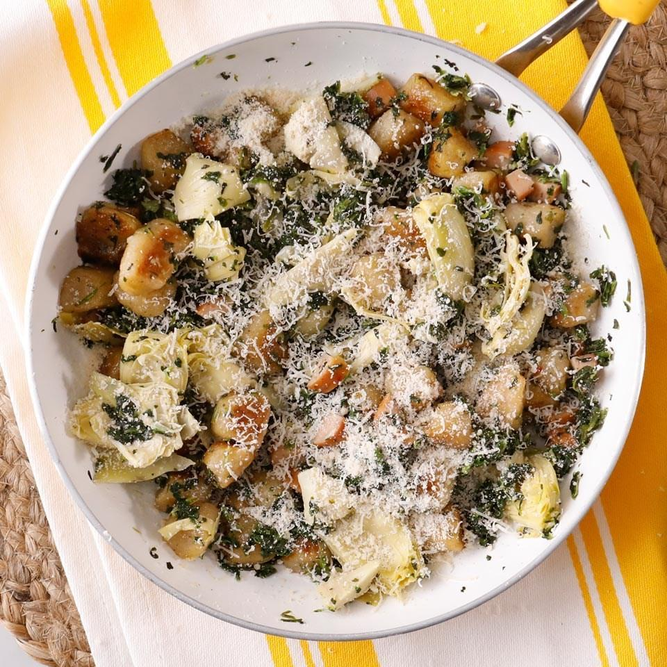 <p>Hearty and piquant, this quick cauliflower gnocchi dinner incorporates several healthy convenience ingredients, including turkey sausage and tender artichoke hearts, so dinner is on your table fast.</p>
