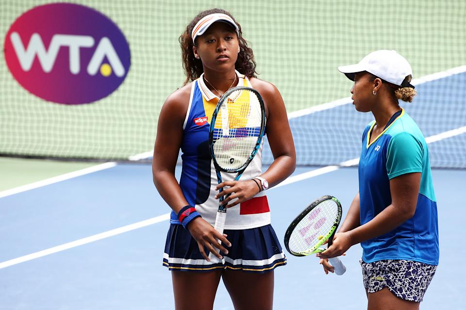 TOKYO, JAPAN - SEPTEMBER 20: Naomi Osaka and Mari Osaka of Japan in action in her match against Makoto Ninomiya of Japan and Renata Voracova of Czech Republic during women's doubles match day three of the Toray Pan Pacific Open Tennis At Ariake Coliseum on September 20, 2017 in Tokyo, Japan. (Photo by Koji Watanabe/Getty Images)