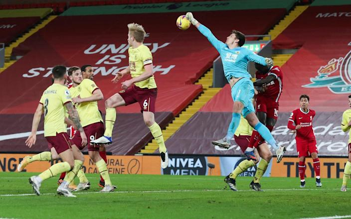 Nick Pope of Burnley punches clear - Bradley Ormesher