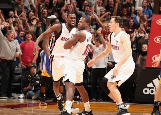 "<a class=""link rapid-noclick-resp"" href=""/nba/players/5010/"" data-ylk=""slk:Dion Waiters"">Dion Waiters</a> strikes his now-famous, post-game-winner pose. (Getty)"