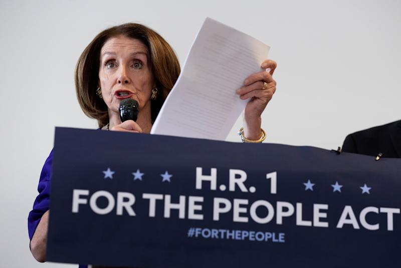 Speaker of the House Nancy Pelosi, D-Calif., speaks about voter rights during a joint a news conference with Rep. Lloyd Doggett, Tuesday, March 5, 2019, in Austin, Texas. (AP Photo/Eric Gay) ORG XMIT: TXEG102