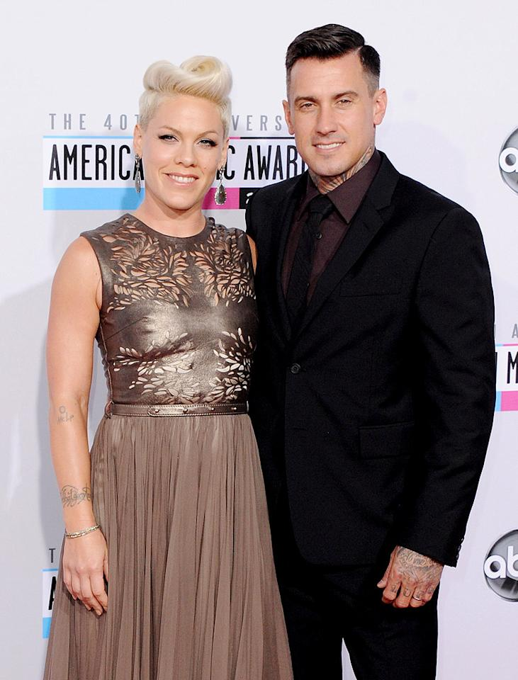 "Pink wasn't shy about updating her fans about her split with husband Carey Hart in 2008, first posting a note to her website explaining the situation: ""This breakup is not about cheating, anger, or fighting. I know it sounds like cliché bullsh--, but we are best friends, and we will continue to be."" And later mentioning losing her husband in her tune ""So What,"" which she released the same year. It wasn't the first time the rocker and the motorcross racer, who first met in 2001, had broken up. The two were on-again-off-again prior to their 2006 wedding and, were on again once and for all (we hope!) when they reconciled in early 2010. The couple welcomed their daughter Willow in June 2011, but still have their ups and downs: ""It's never going to be perfect,"" she told <em>Billboard</em> in August. ""Carey always jokes, ""You're always just mad enough at me to write a song.""'"