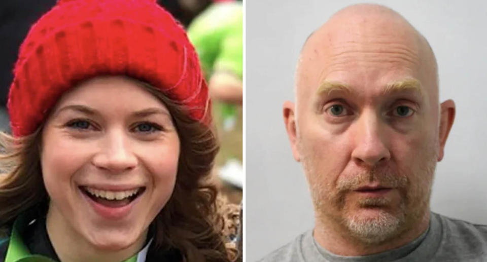 Left is Sarah Everard and on the right is her killer Wayne Couzens, a former Met Police officer.
