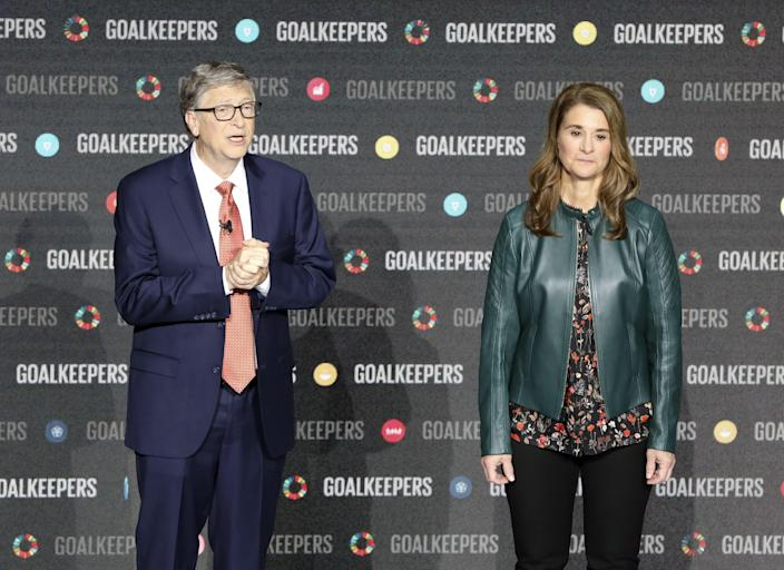 <p>Bill Gates and his wife Melinda Gates introduce the Goalkeepers event at Lincoln Center on 26 September 2018, in New York</p> (AFP via Getty Images)