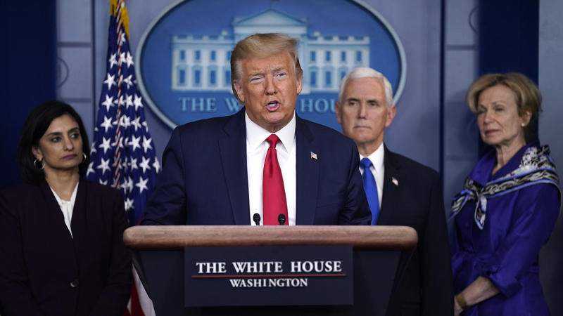 President Donald Trump speaks during press briefing with the Coronavirus Task Force, at the White House, Wednesday, March 18, 2020, in Washington. (Evan Vucci/AP)
