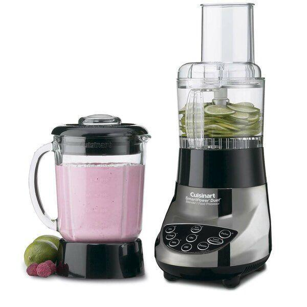 "<p><strong>Cuisinart</strong></p><p>wayfair.com</p><p><strong>$89.90</strong></p><p><a href=""https://go.redirectingat.com?id=74968X1596630&url=https%3A%2F%2Fwww.wayfair.com%2Fkitchen-tabletop%2Fpdp%2Fcuisinart-smartpower-duet-500-watt-blenderfood-processor-cui3403.html&sref=https%3A%2F%2Fwww.goodhousekeeping.com%2Fappliances%2Fblender-reviews%2Fg4864%2Fbest-blender-reviews%2F"" rel=""nofollow noopener"" target=""_blank"" data-ylk=""slk:Shop Now"" class=""link rapid-noclick-resp"">Shop Now</a></p><p>This highly popular Cuisinart blender/food processor combo has a low-profile 40-ounce glass jar, which has <strong>the benefit of not discoloring, scratching or absorbing food smells like a plastic jar may</strong>. This 500-watt blender is not the most high-powered. It features seven blending and processing options that are clearly marked and easy to use. We love that it comes with a compact food processor for chopping, stirring, and even shredding. All parts are dishwasher-safe. </p>"
