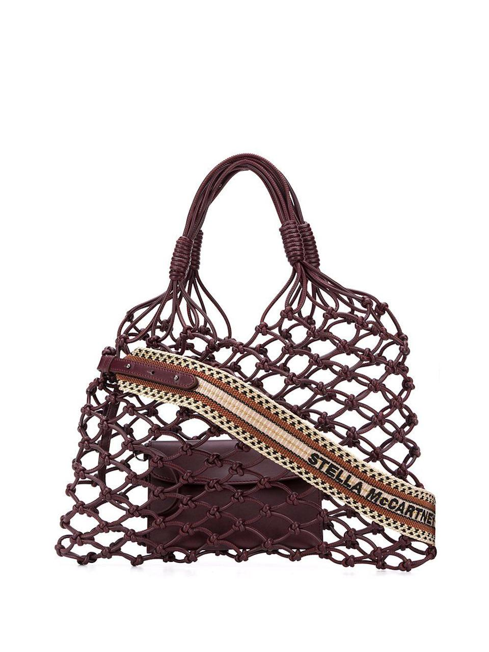 """<p><strong>Stella McCartney</strong></p><p>farfetch.com</p><p><strong>$925.00</strong></p><p><a href=""""https://go.redirectingat.com?id=74968X1596630&url=https%3A%2F%2Fwww.farfetch.com%2Fshopping%2Fwomen%2Fstella-mccartney-knotted-structure-tote-item-14920876.aspx&sref=https%3A%2F%2Fwww.townandcountrymag.com%2Fstyle%2Fg36132033%2Fthe-weekly-covet-april-16-2021%2F"""" rel=""""nofollow noopener"""" target=""""_blank"""" data-ylk=""""slk:Shop Now"""" class=""""link rapid-noclick-resp"""">Shop Now</a></p><p>""""Can't go wrong with anything Stella McCartney, whose entire brand ethos is built around sustainability. I love the idea of a bordeaux-hued net bag for chic farmer's market runs—and of course for transporting many a bottle of Bordeaux.""""—<em>Leena Kim, Associate Editor</em></p>"""