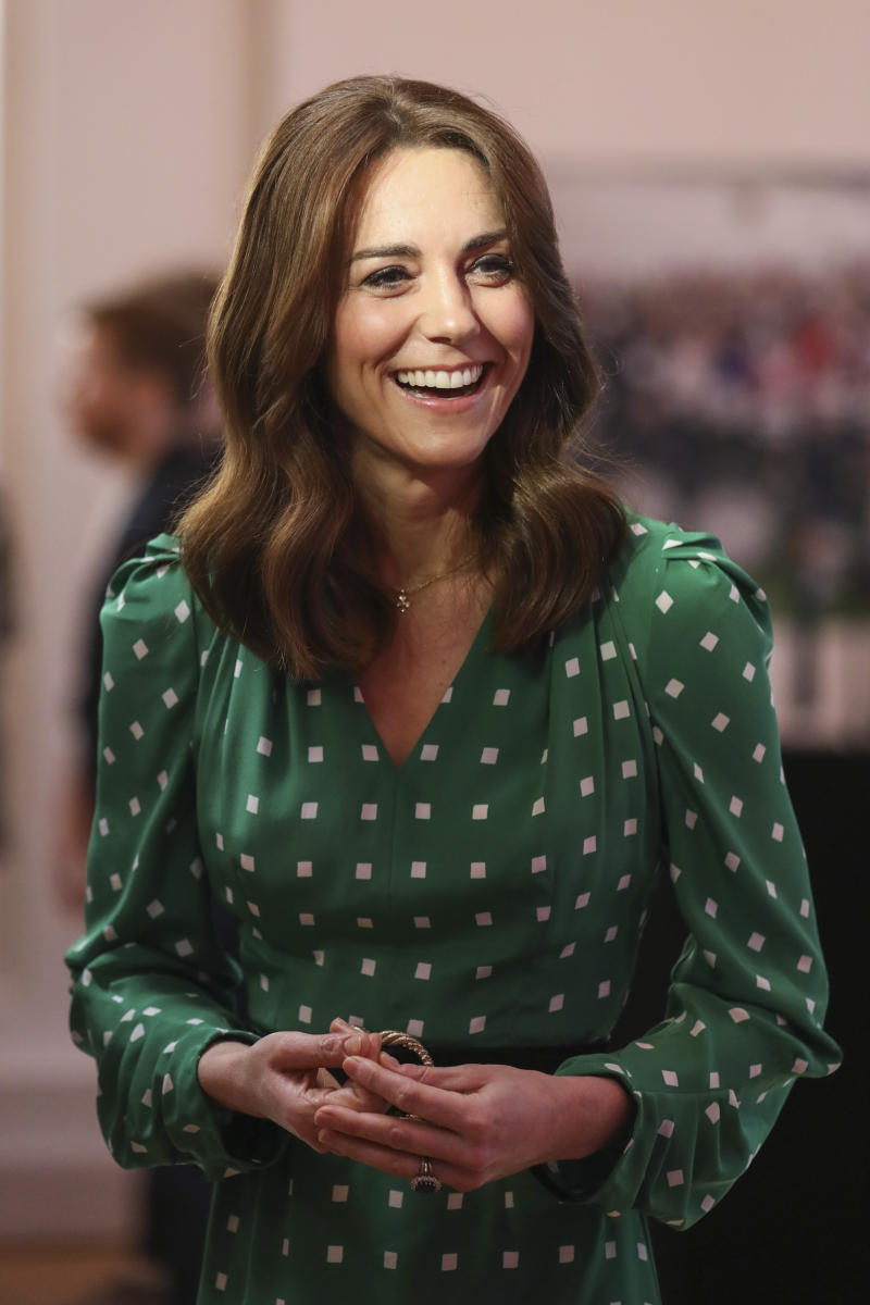 Catherine, Duchess of Cambridge wore delicate gold shamrock jewelry by designer Daniella Draper during her visit to Galway. (Photo by Peter Morrison-Pool/Getty Images)