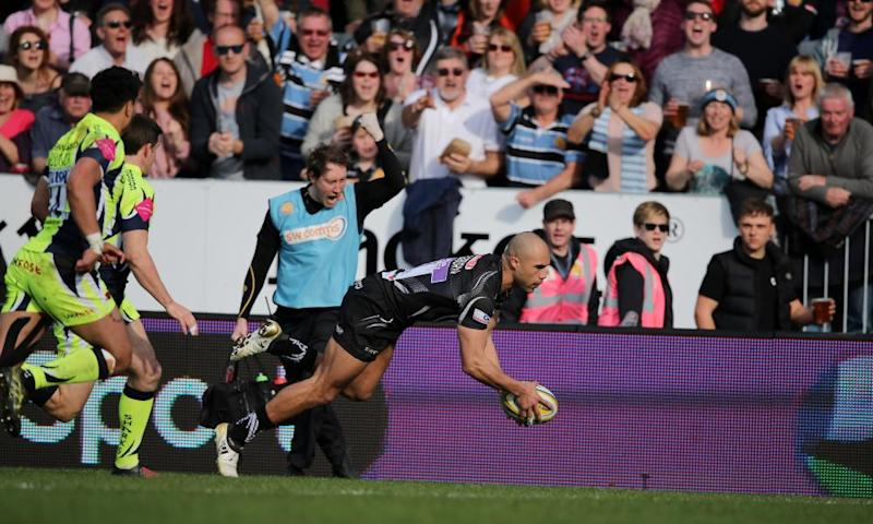 Olly Woodburn touches down for Exeter Chiefs on their way to victory against Sale.