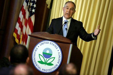 FILE PHOTO - Scott Pruitt, administrator of the Environmental Protection Agency (EPA), speaks to employees of the agency in Washington, U.S., February 21, 2017.      REUTERS/Joshua Roberts