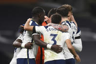 Tottenham Hotspur celebrate end of the English Premier League soccer match between Tottenham Hotspur and Manchester City at Tottenham Hotspur Stadium in London, England, Saturday, Nov. 21, 2020. (Neil Hall/Pool via AP)