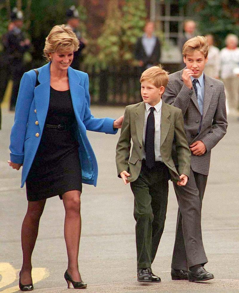Prince William with Diana, Princess of Wales and Prince Harry on the day he joined Eton in September 1995. at the Various in Various, United Kingdom. (Photo by Anwar Hussein/WireImage)