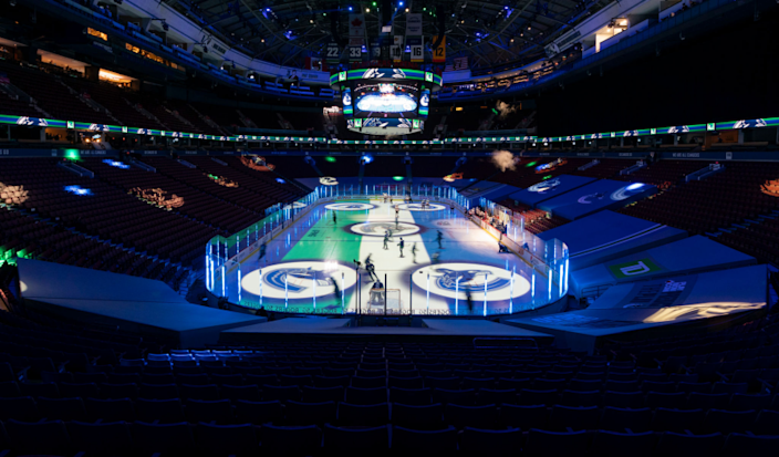 VANCOUVER, BC - JANUARY 27: Players take to the ice prior to the NHL game between the Vancouver Canucks.